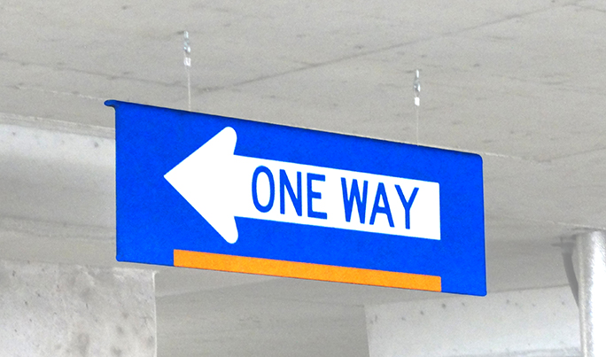 One Way Hanging Sign