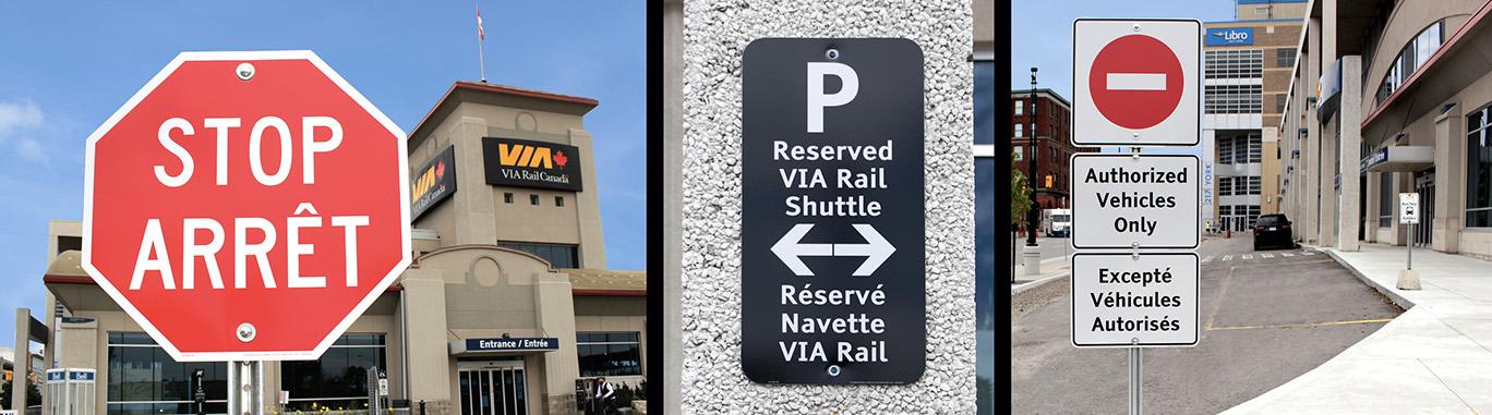 VIA RAIL Parking Lot & Directional Signage