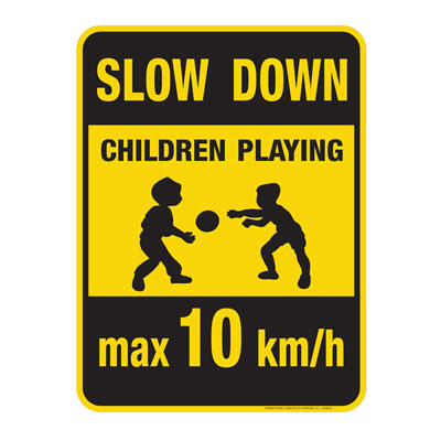 """Yellow """"Slow Down, Children Playing"""" Caution Sign"""