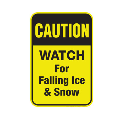 """Yellow """"Beware of Falling Ice & Snow"""" Caution Sign"""