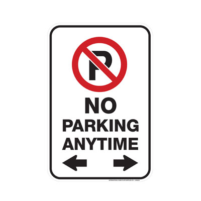 No Parking, Anytime W/ Dual Arrows Parking Lot Sign
