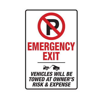 No Parking, Emergency Exit, Tow Warning Parking Lot Sign