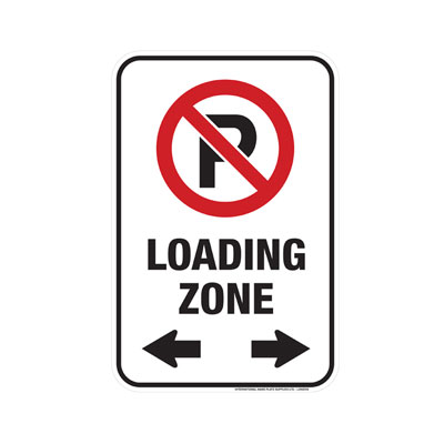 No Parking, Loading Zone W/ Dual Arrows Parking Lot Sign