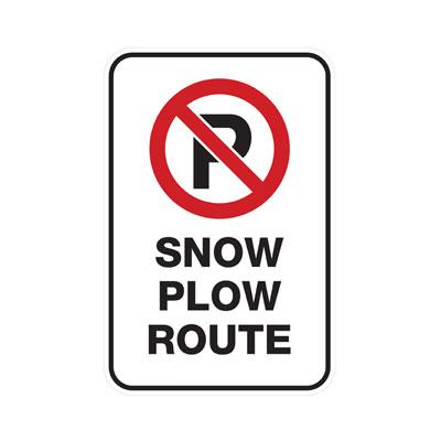 No Parking, Snow Plow Route Parking Lot Sign