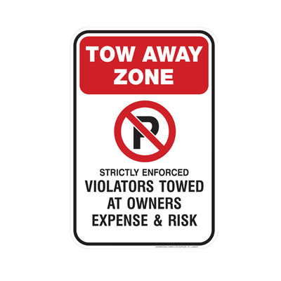No Parking, Tow Away Zone Parking Lot Sign