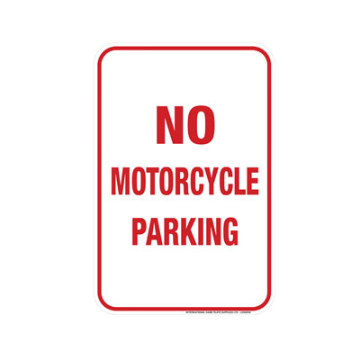 No Motorcycle Parking Parking Lot Sign