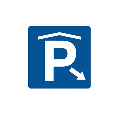 Covered Parking W/ Arrow Parking Lot Sign