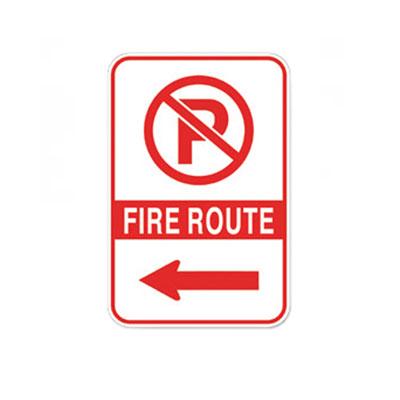 Fire Route Sign W/ Left Arrow Parking Lot Sign