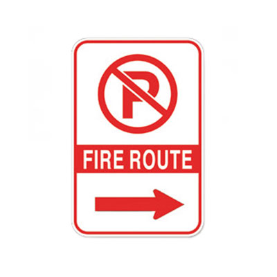Fire Route Sign W/ Right Arrow Parking Lot Sign