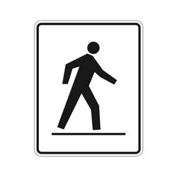 LEFT SIDE PREDESTRIAN CROSSWALK Traffic Sign