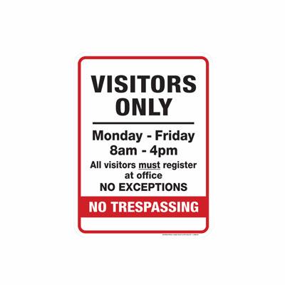 Visitors Only Parking Lot Sign