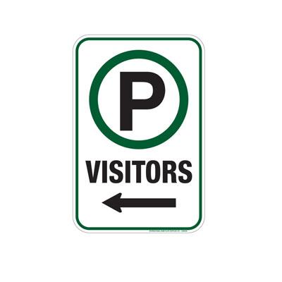 Parking, Visitors W/ Arrow Parking Lot Sign