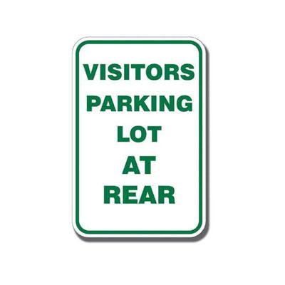 Visitor Parking Lot at Rear Parking Lot Sign