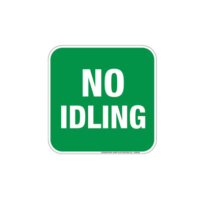 No Idling, Green Background Parking Lot Sign